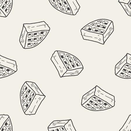 belgian waffle: waffle doodle seamless pattern background