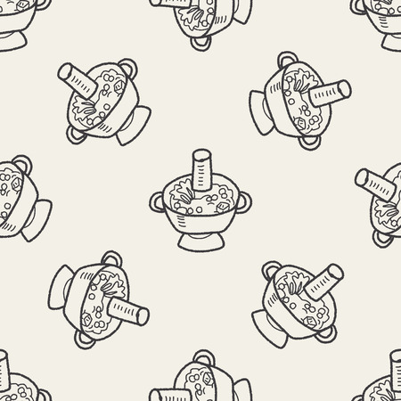 chafing dish: Chafing dish doodle seamless pattern background Illustration