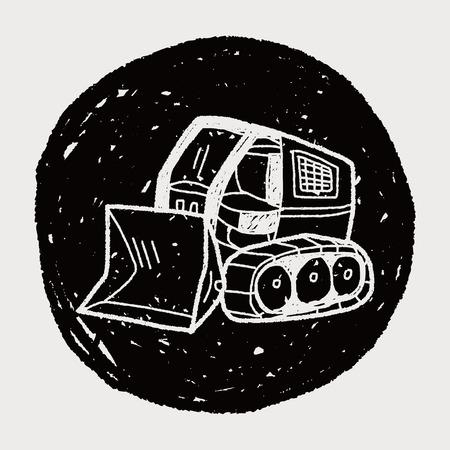 Excavator doodle Vector