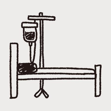 ziekenhuisbed doodle Stock Illustratie