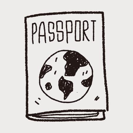 doodle paspoort Stock Illustratie