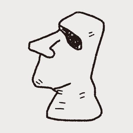 moai: moai garabato Vectores