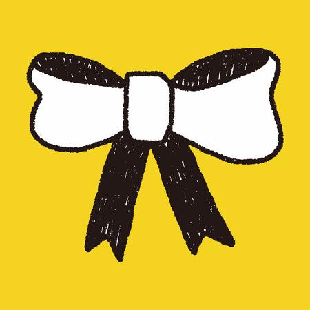 ribbon bow: Ribbon bow doodle drawing