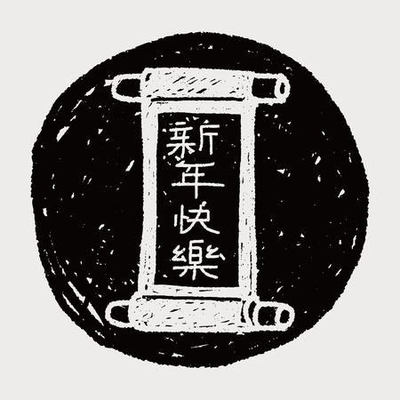 prosper: Chinese New Year; Chinese words calligraphy scrolls means  Happy Chinese New Year doodle Illustration