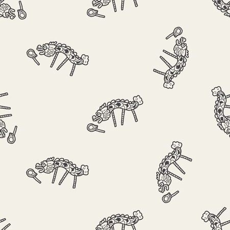 Chinese New Year; The dragon and lion dancing head doodle seamless pattern background Vector