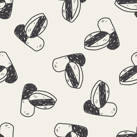 textile care symbol: doodle pill seamless pattern background