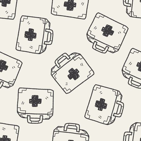 medical box: medical box doodle drawing seamless pattern background