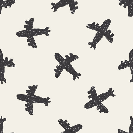 doodle aircraft seamless pattern background Vector