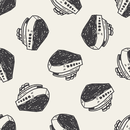 doodle boat seamless pattern background Vector