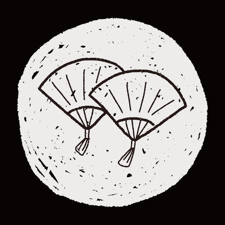 """b�n�diction: Nouvel An Chinois; Folding fan avec des mots de la b�n�diction chinoise """"Happy New Year"""". griffonnage"""
