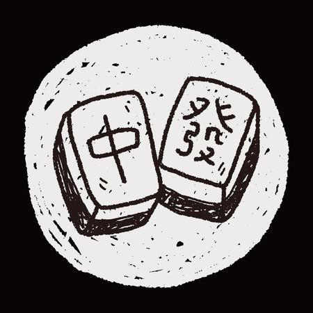 palying: Chinese New Year; Chinese mahjong doodle Illustration