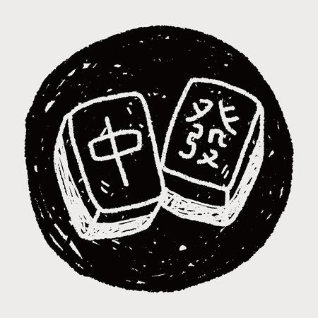 palying: Chinese New Year; Chinese mahjong doodle Illustration