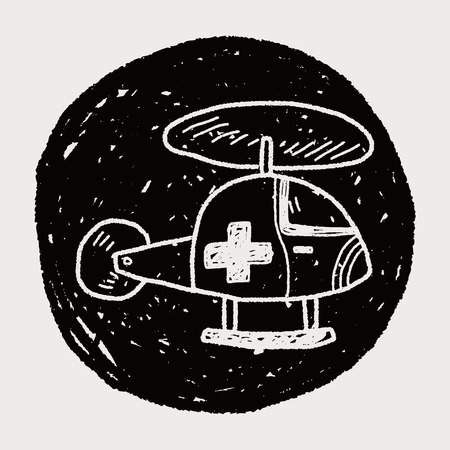 medical helicopter doodle Vector