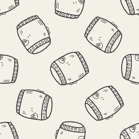 Chinese New Year; Chinese drum doodle seamless pattern background Vector