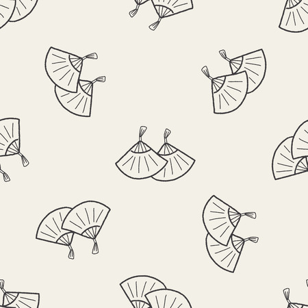 open fan: Chinese New Year; Folding fan with Chinese blessing words  Happy New Year. doodle seamless pattern background