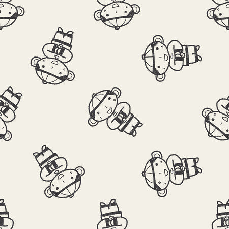 Chinese New Year; Chinese New Year boy doodle seamless pattern background Vector
