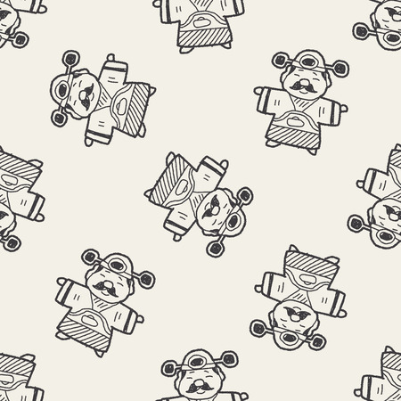 Chinese New Year; God of wealth doodle seamless pattern background Vector