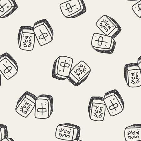 palying: Chinese New Year; Chinese mahjong doodle seamless pattern background Illustration