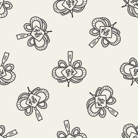 Chinese New Year; lucky Chinese knot means  wish good luck and fortune comes. doodle seamless pattern background Vector