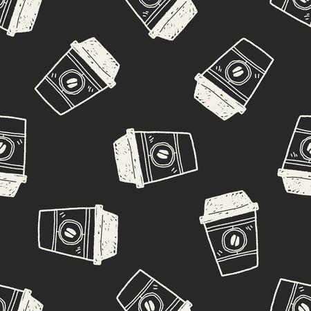 teak: coffee doodle seamless pattern background