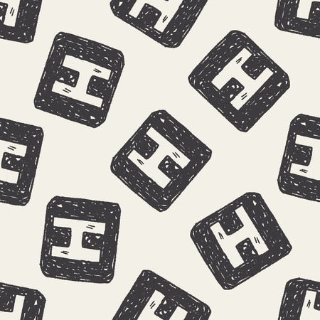 textile care symbol: Doodle Hospital seamless pattern background
