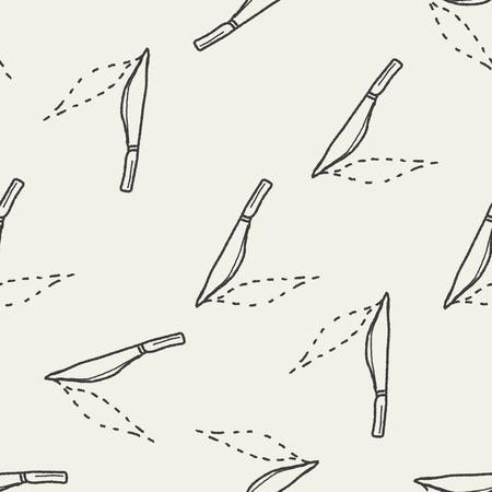 scalpel: Scalpel doodle drawing seamless pattern background Illustration