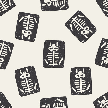 x-ray doodle seamless pattern background Vettoriali