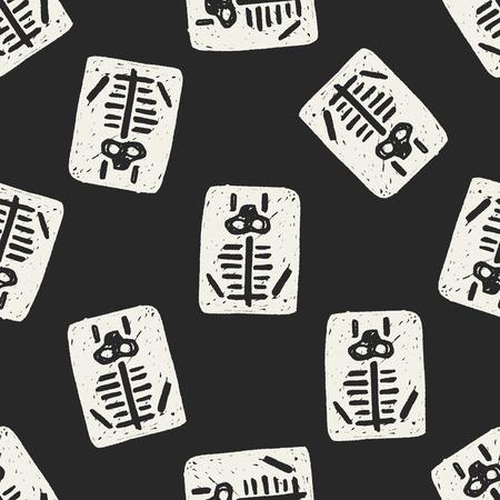 x xray: x-ray doodle seamless pattern background Illustration
