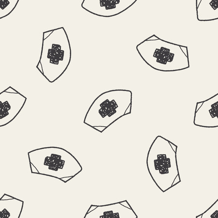 nurse hat: nurse hat doodle drawing seamless pattern background