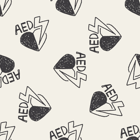 revive: aed doodle seamless pattern background