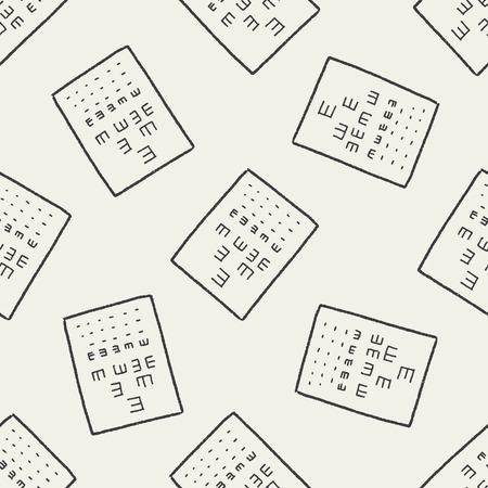 eye test doodle seamless pattern background