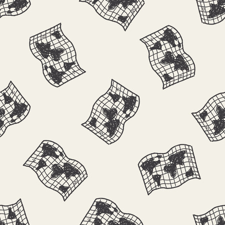 doodle map seamless pattern background Vector