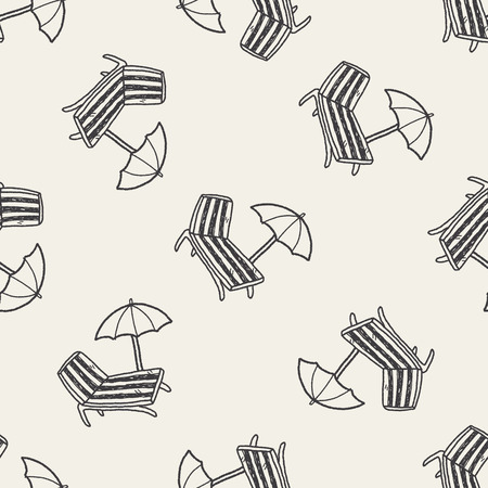 lounge chair: doodle Lounge chair seamless pattern background Illustration