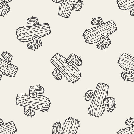 spiky: doodle cactus seamless pattern background