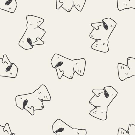 rapa nui: Doodle moai fondo sin patrón