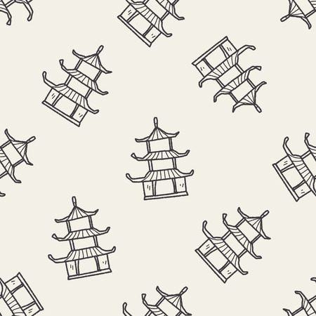 Chinese house doodle seamless pattern background Vector