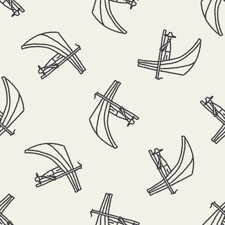 boat doodle seamless pattern background Vector