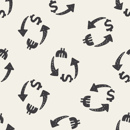 exchange money doodle seamless pattern background Vector
