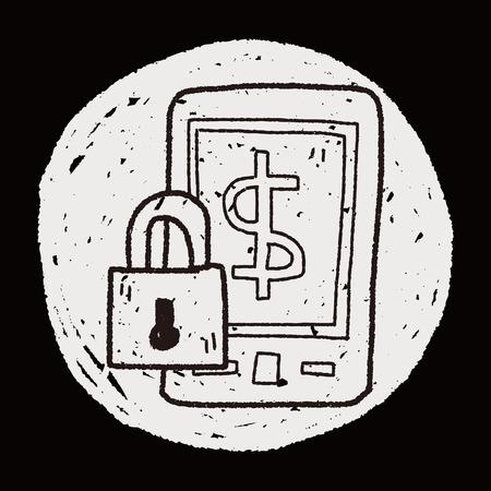 phone money: tel�fono dinero doodle de seguros Vectores