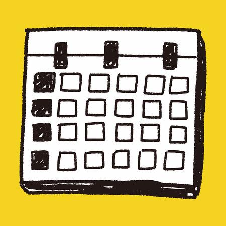 Monthly calendar doodle drawing Illustration
