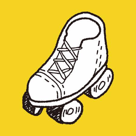 skating fun: doodle roller skates Illustration