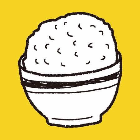 reis gekocht: Reis doodle Illustration