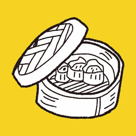 клецка: клецки каракули Иллюстрация