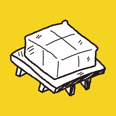 bean curd: tofu doodle Illustration