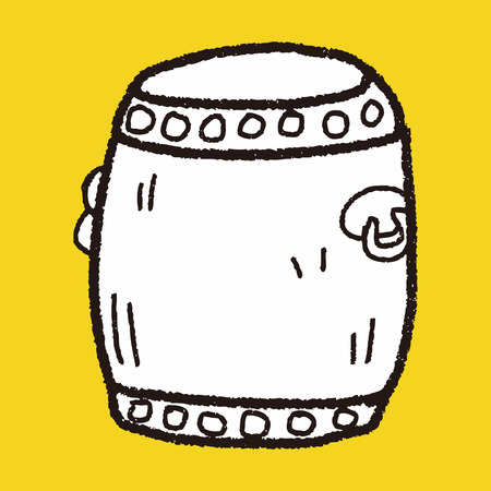 Chinese New Year; Chinese drum doodle Vector