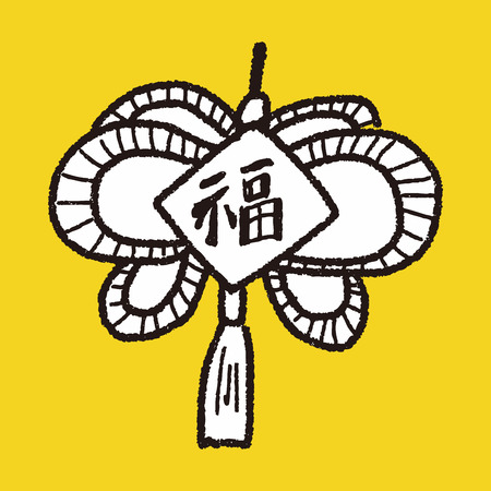chinese knot: Chinese New Year; lucky Chinese knot means  wish good luck and fortune comes. doodle