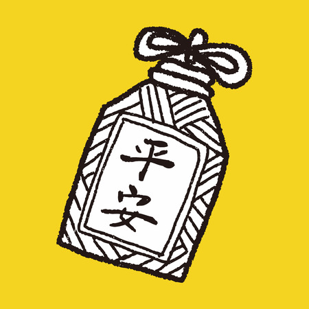 blown: Chinese New Year; lucky pendant means  wish good luck and be safe in whole year doodle