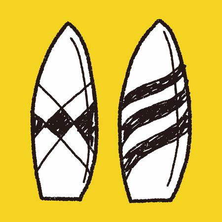 surf board: Tablero Doodle Surf Vectores