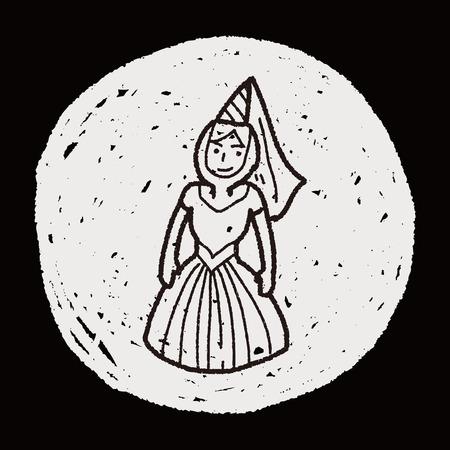 renaissance woman: medieval people doodle Illustration