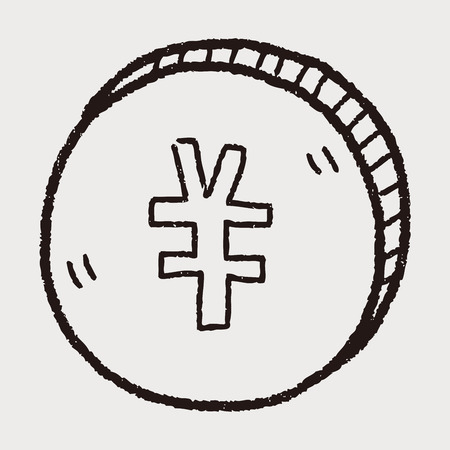 renminbi: doodle Renminbi money coin Illustration
